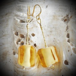 CUBO SCIOGLIENDO BLACK - BLACK earrings IN REAL GLASS OF MURANO IN VENICE