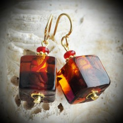 CUBE two-tone AMBER earrings MURANO GLASS AMBER AND RED