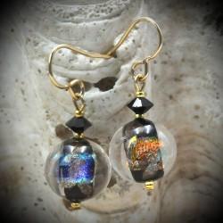 Boucles d'oreilles en verre de Murano de Venise clair de lune