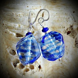 SASSO RIGADIN BLUE earrings, BLUE GENUINE MURANO GLASS OF VENICE