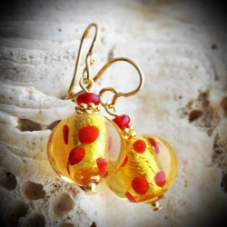 ROSSO PASTA - earrings GOLD AND RED MURANO GLASS RED polka dots
