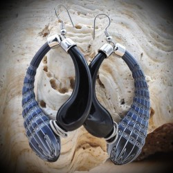 MIO BLACK-AND-BLUE - earrings CREOLES BLUE AND BLACK GENUINE GLASS BLOWN-MURANO VENICE
