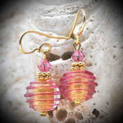 Ohrringe aus Murano-glas, Venedig-Jo-Jo-rosa-Silber