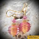 JO-JO PINK - GOLD ROSE earrings JEWELRY GENUINE MURANO GLASS OF VENICE