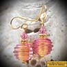 Boucles d'oreilles en verre de Murano de Venise Jo-Jo rose Argent