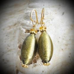 OLIVER KHAKI - earrings MURANO GLASS GOLDEN GREY
