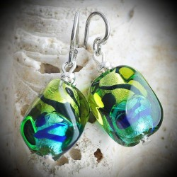 SASSO two-tone GREEN earrings, MURANO GLASS GREEN AND BLUE