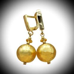 BALL-GOLD - OHRRINGE, GOLD-SCHÖNEN SCHMUCK aus ECHTEN MURANO-GLAS AUS VENEDIG