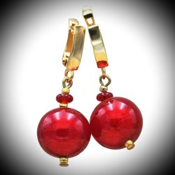 RED BALL - earrings RED chaise-longue JEWELLERY GENUINE MURANO GLASS OF VENICE