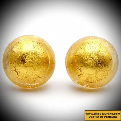 Earrings BUTTONS AMBER JEWELLERY GENUINE MURANO GLASS