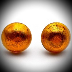 Earrings BUTTONS AMBER JEWELLERY GENUINE MURANO GLASS
