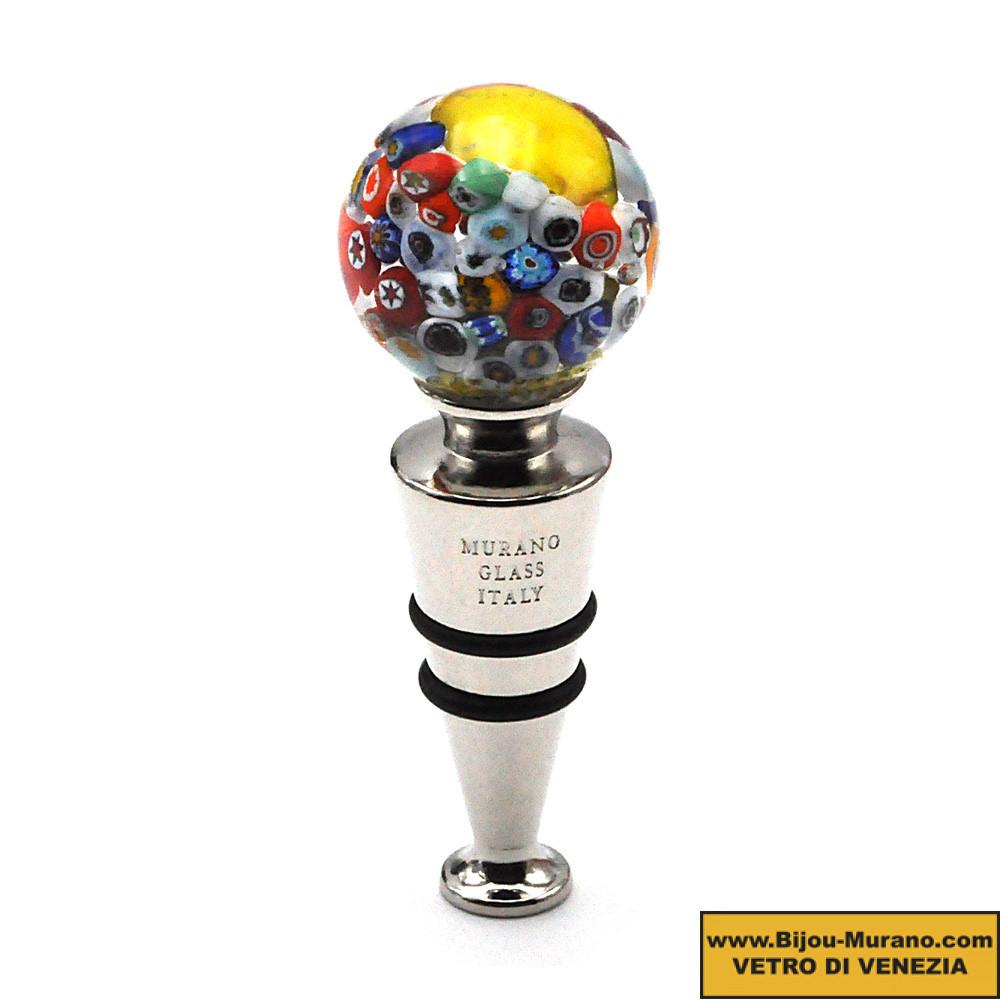 MURANO GLASS YELLOW MILLEFIORI ROUND STOPPER