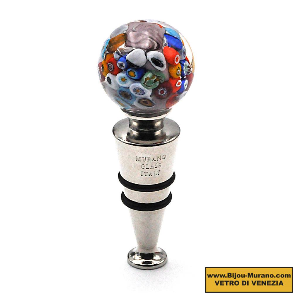 MILLEFIORI PARMA ROUND BOTTLE STOPPER IN MURANO GLASS