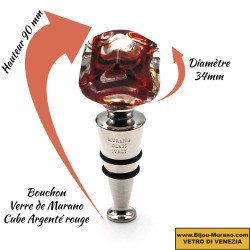 RED AND SILVER MURANO GLASS CUBE BOTTLE STOPPER