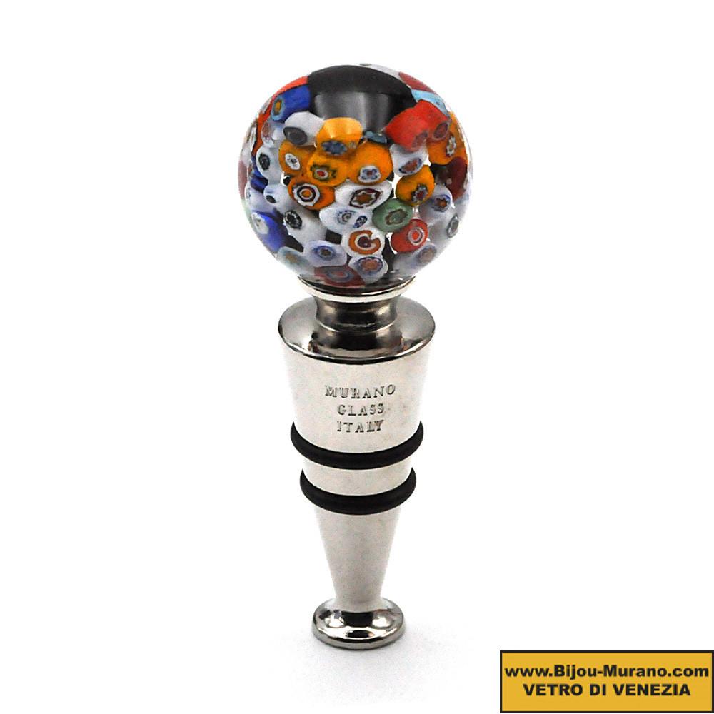 BLACK MILLEFIORI ROUND BOTTLE STOPPER IN MURANO GLASS