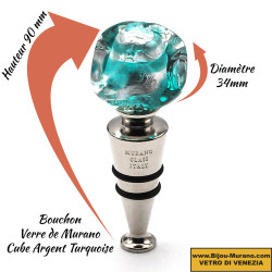TURQUOISE BLUE AND SILVER CUBE BOTTLE STOPPER IN MURANO GLASS