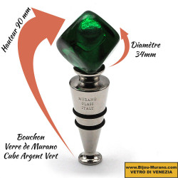 GREEN AND SILVER CUBE BOTTLE STOPPER IN MURANO GLASS