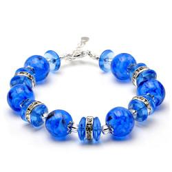 NAVY BLUE MURANO GLASS BRACELET IN GENUINE VENICE GLASS