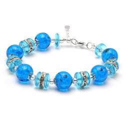 BLUE SKY MURANO GLASS BRACELET IN GENUINE VENICE GLASS