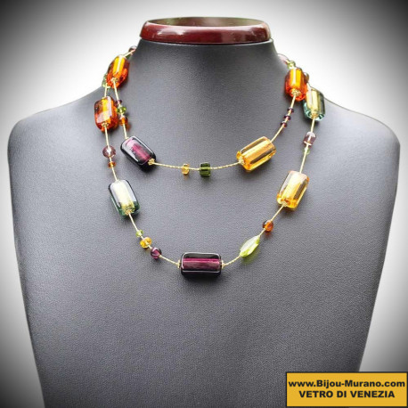 NECKLACE OF VENICE BEAUTIFUL, GOLD JEWELLERY AND MURANO GLASS ITALY