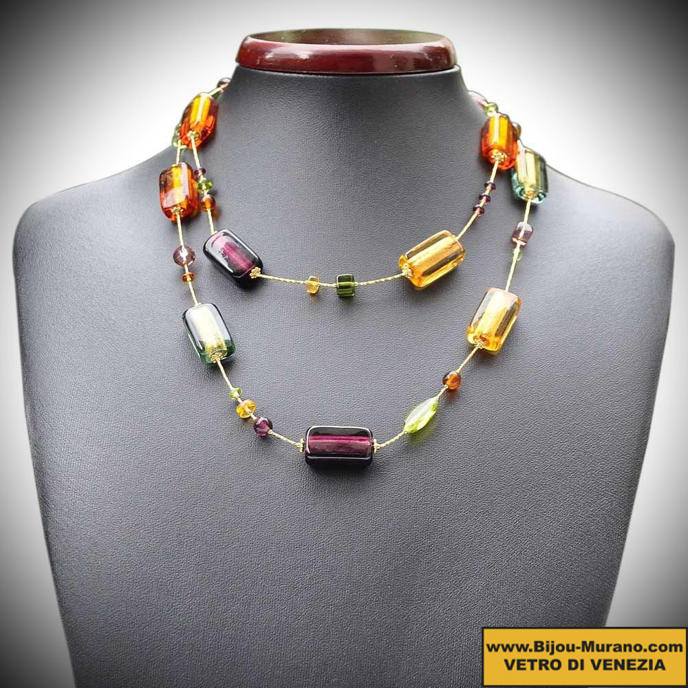 FOUR SEASONS, LONG FALL, a NECKLACE OF VENICE BEAUTIFUL, GOLD JEWELLERY AND MURANO GLASS ITALY