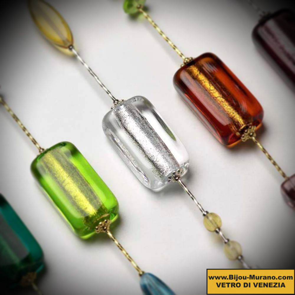COLLAR LONG AUTUMN, A NECKLACE OF VENICE BEAUTIFUL, GOLD JEWELLERY AND MURANO GLASS ITALY