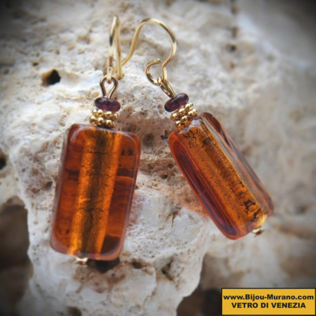 Earrings AMBER ITALIAN GENUINE MURANO GLASS OF VENICE