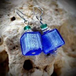 Boucles d'oreilles Murano Bleu argent en véritable verre de Venise