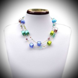 NECKLACE BLUE GREEN MURANO GLASS OF VENICE REAL