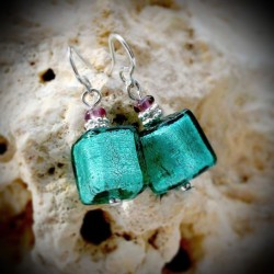 Earrings SILVER GREEN GENUINE MURANO GLASS OF VENICE