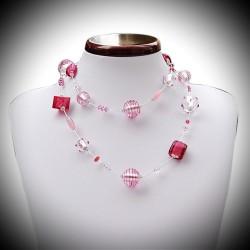 Halskette Silber und Rosa entlang Murano Venedig