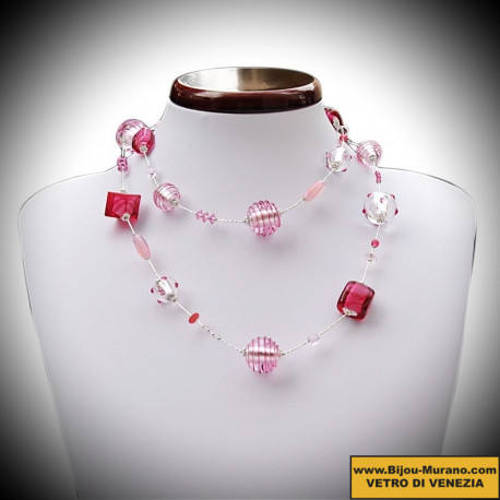 Necklace Silver and Pink long Murano glass of Venice