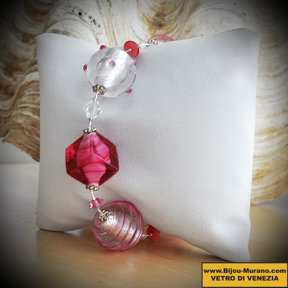 JO PINK AND SILVER BRACELET GENUINE GLASS ITALIAN MURANO VENICE