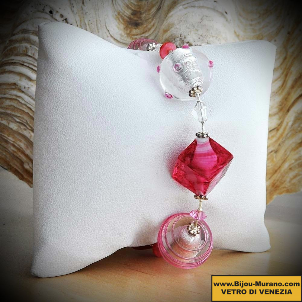 BRACELET PINK AND SILVER GENUINE MURANO GLASS OF VENICE