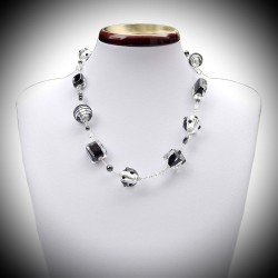 Necklace black and silver Murano glass of Venice