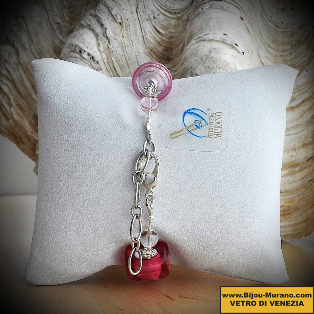 JO PINK AND SILVER BRACELET WITH GENUINE MURANO GLASS FROM VENICE