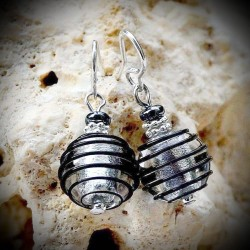Earrings glass Venetian Black and Silver