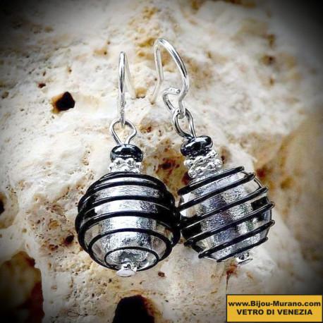 Boucles d'oreilles en verre de Venise Noir et Argent