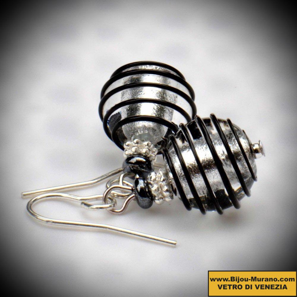 Ohrringe aus Muranoglas in Schwarz und Silber