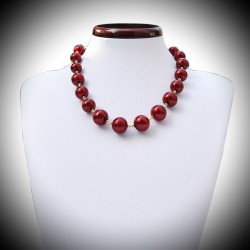 BILLES ROUGE COLLIER EN VERITABLE VERRE DE MURANO DE VENISE