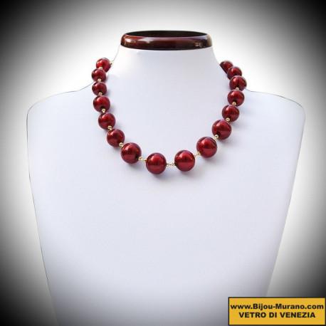 Collier véritable verre de Murano rouge de Venise