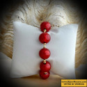 BEADS, RED AND GOLD BRACELET GENUINE MURANO GLASS OF VENICE