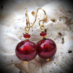 Earrings red Murano glass of Venice