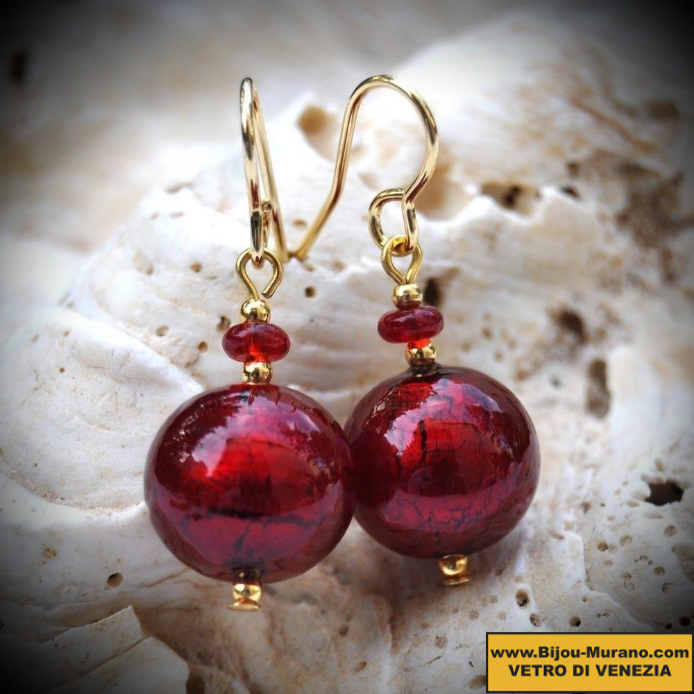 BEADS RED earrings IN REAL GLASS OF MURANO IN VENICE