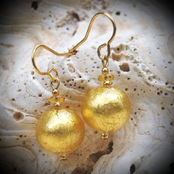 Gold earrings in real glass of Murano in Venice, Ball Gold of Venice