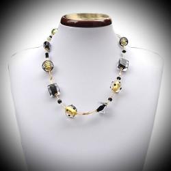 Collier en véritable verre de Murano noir et or de Venise