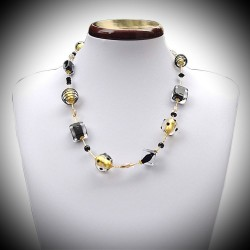 Necklace in Murano glass black and gold of Venice