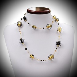 Necklace in Murano glass Venetian black and gold long