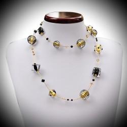 Halskette aus Murano-glas, Venedig, schwarz und gold long