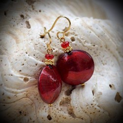 COMET RED earrings IN REAL GLASS OF MURANO IN VENICE